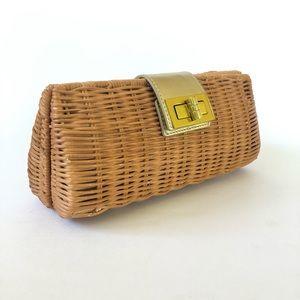 J. Crew Straw Wicker Gold Leather Trim Clutch Bag